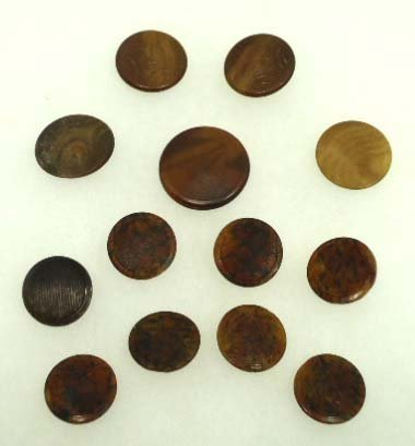 93: 13 Textured Top Vict. Tortoise Shell Like Buttons