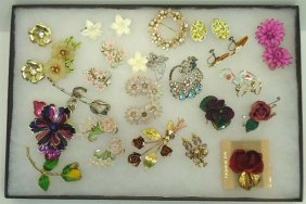 Huge Floral Jewelry Lot