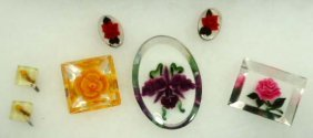 Rev. Carved Vtg. Floral 5 Pc. Lot