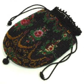 Beaded Drawstring Purse W/ Liner