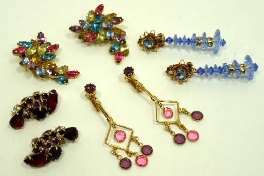 148: 4 Pr. Vtg. Pastel & Ruby glass Earrings
