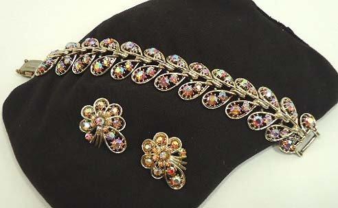 149: Pink A.B. Vtg. Rhinestone Bracelet Set