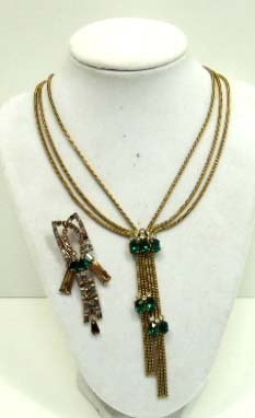 Vtg. Emerald Rhinestone Necklace & Pin