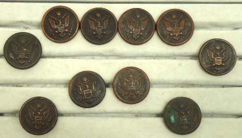 209: 10 Antiq. Military Coat Buttons