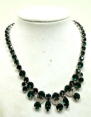 252: Vtg. Eisenberg Emerald Green Rhinestone