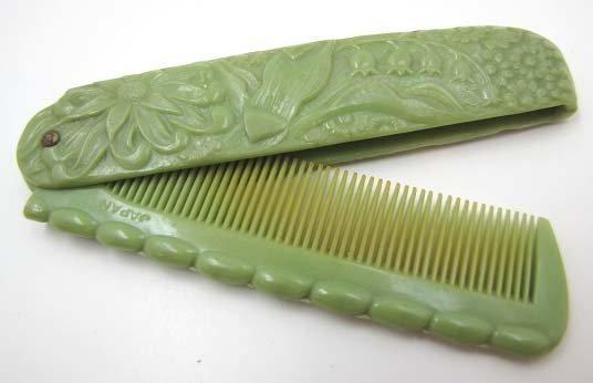 Vintage Carved Bakelite Folding Comb