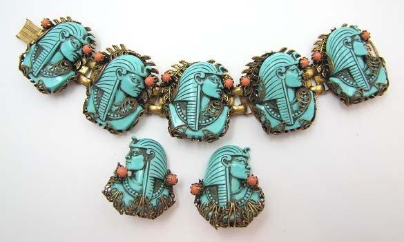 Antiq Faux Persian Turquoise Egyptian Bracelet Set