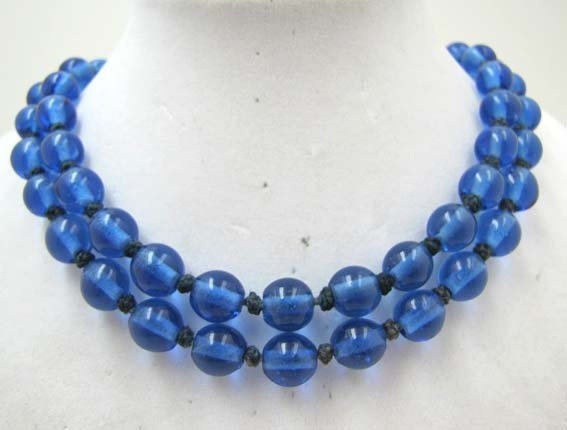 Vict Cobalt Blue Hand Tied Glass Bead Necklace
