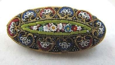 Italian Micro Mosaic Oval Brooch