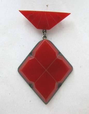Art Deco Bakelite Red & Black Brooch