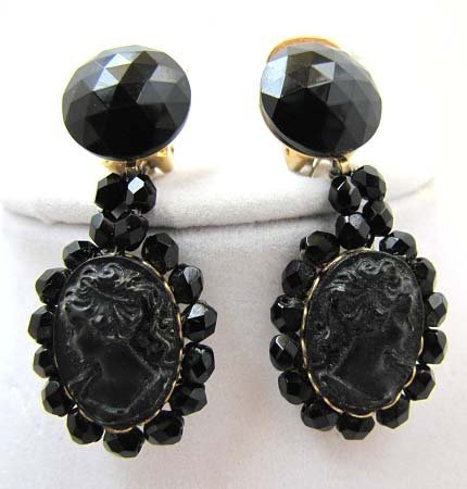 Pr Vintage Mourning Jewelry Earrings