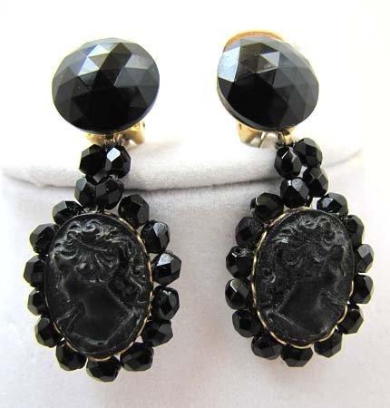 Pr Vintage Mourning Jewelry Earrings