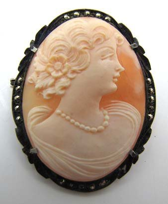 Vict. Coin Silver Shell Cameo Brooch