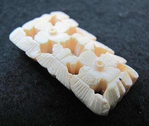 Carved Pre Bnd Antq Ivory Pin - 2
