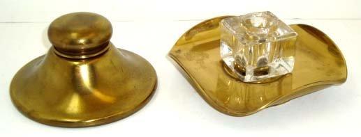10: Pr Brass Inkwells