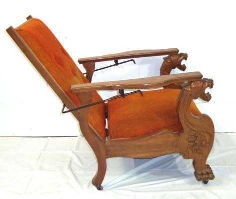 - 160A: Mahogany Lion Head Morris Chair