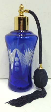 5: Cobalt Cut to Clear Perfume Bottle