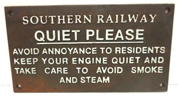 5A: C.I. Southern Railway Quiet Sign