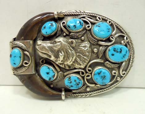181: Am. Indian Silver Turquoise Bear Claw Buckle 155gm