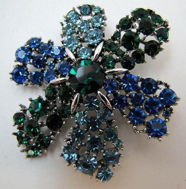 312: Vtg. Cobalt, Ice Blue, Emerald Chaton Brooch