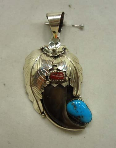 5: Navajo Bear Claw & Turquoise Pendant
