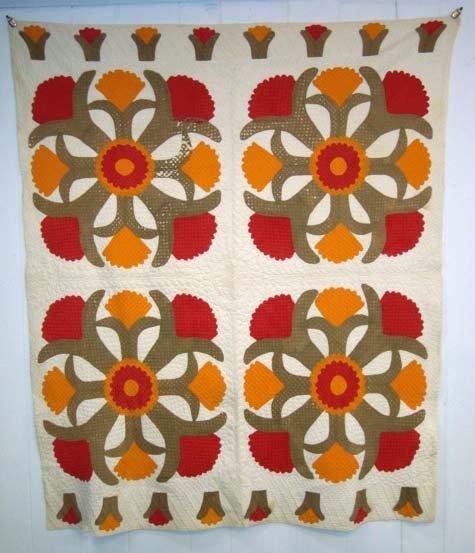 199A: Cockscomb Applique Quilt