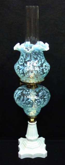 2: Fenton Blue Opal. Oil Lamp