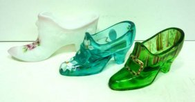 6: 3 Fenton Glass Shoes