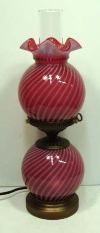 142: Fenton Cran./Opal Swirl Lamp