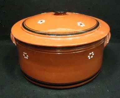 3: Brown Stoneware Dutch Oven