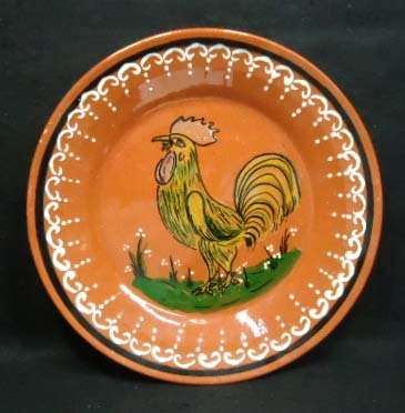4: Brown Stoneware Rooster Charger