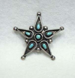 9C: Sterling Silver/Turq. Star Pin