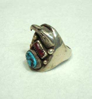 18C: Sterling Silver/Turq. Coral Eagle Ring