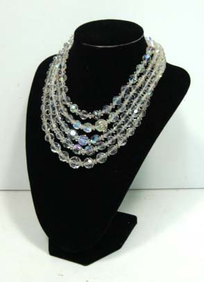 14: 4 Vintage Faceted Crystal Bead Necklaces