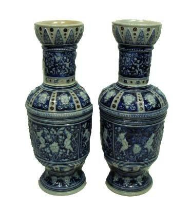 11: Pr. Blue & Gray Stoneware Vases