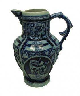 12: Blue & Gray Stoneware Pitcher