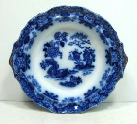 15: Flow Blue Footed Bowl