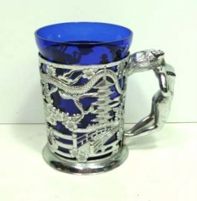 Chrome/Cobalt Glass Nude Mug