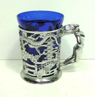 19: Chrome/Cobalt Glass Nude Mug