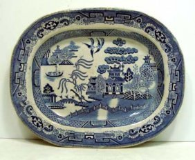 21: 19th Century Blue Willow Platter