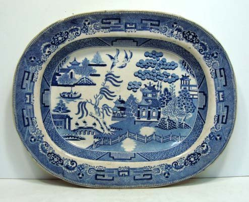 22: 19th Century Blue Willow Platter