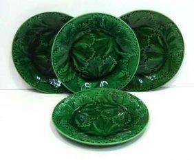 23: 4- Majolica Geranium Leaf Plates