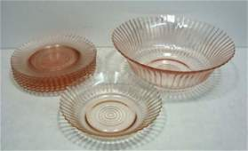 75 8 Pc Pink Depression Glass Petal ware