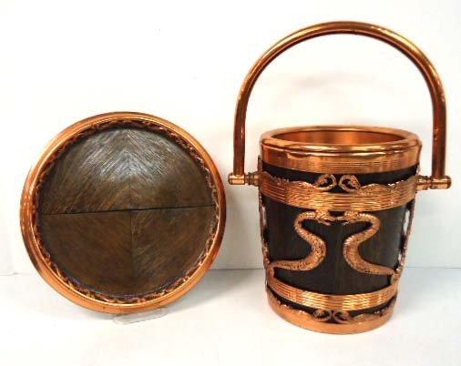 4: Copper & Oak Wine Bucket & Tray