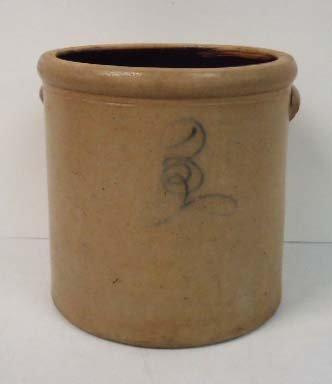 5B: 3 Gallon Cobalt Decorated Crock