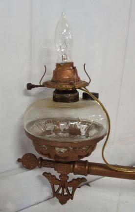 143C: Vict. 4 Arm Kerosene Chandelier - 4