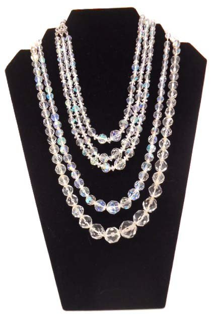 3 Vtg Faceted Crystal Bead Necklaces
