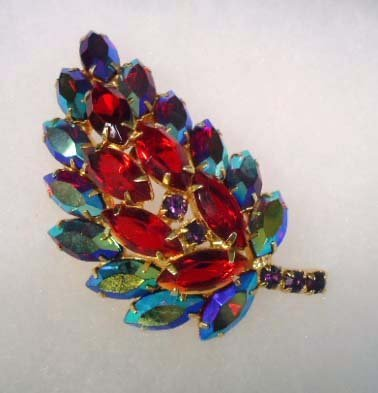 Gorgeous A.B. Navette Domed Red Brooch