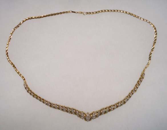 Vermeil Sterling & Dimente Rhin. Necklace