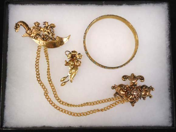 Nice Vtg Brass, Gold Filled, Enameled Jewelry